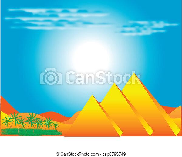 エジプト人, ピラミッド - csp6795749