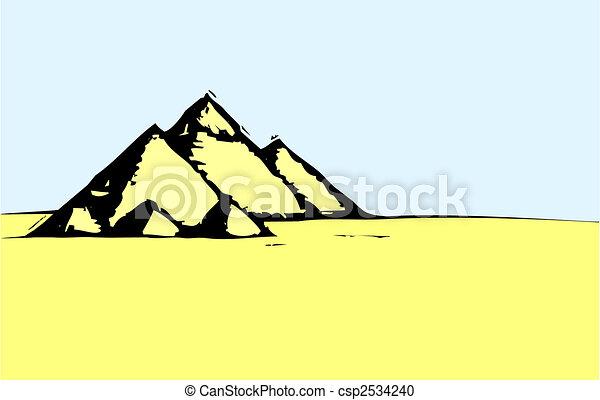 エジプト人, 砂漠, ピラミッド - csp2534240