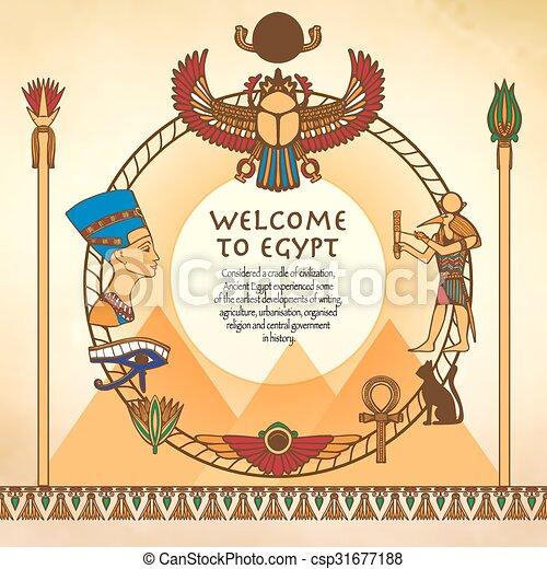 エジプト人, 背景, フレーム - csp31677188