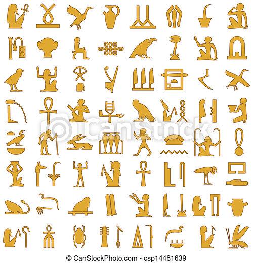 エジプト人, 象形文字, 1, 装飾, セット - csp14481639