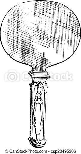 エジプト人, 鏡, engraving., 型 - csp28495306
