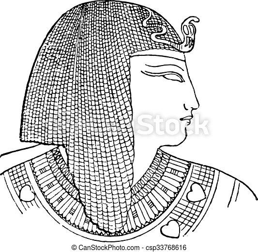 エジプト人, engraving., 頭飾り, 型 - csp33768616