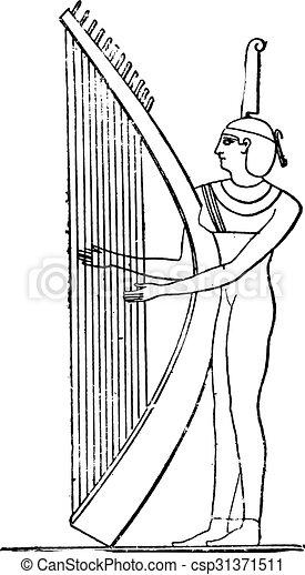 エジプト人, engraving., harpist, 型 - csp31371511