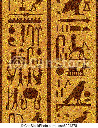 エジプト人, seamless, 象形文字 - csp6204378
