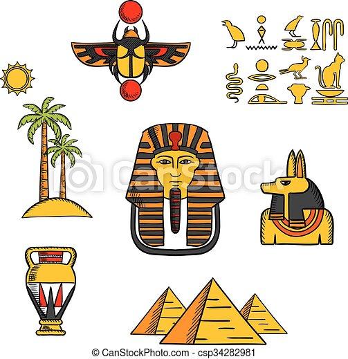 エジプト, アイコン, 文化, 旅行 - csp34282981