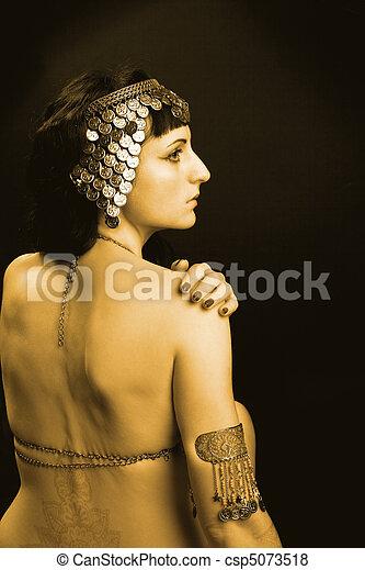 エジプト, 女, 衣装, 金, 王女 - csp5073518