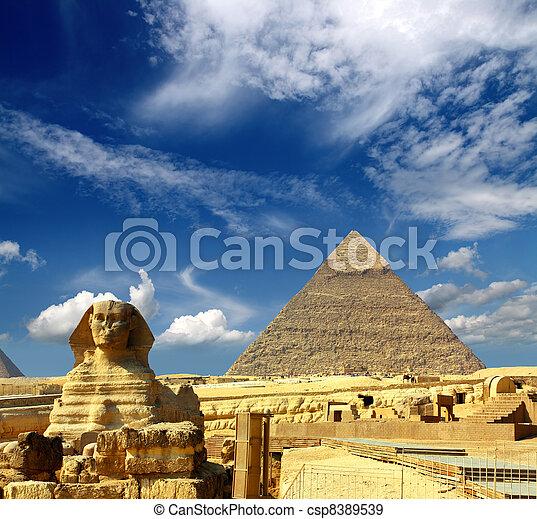 エジプト, cheops の ピラミッド, スフィンクス - csp8389539