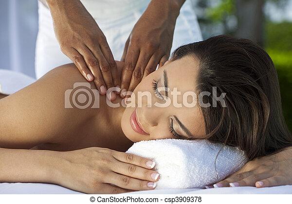 エステ, 外, 健康, マッサージ, 持つこと, 弛緩, 女 - csp3909378