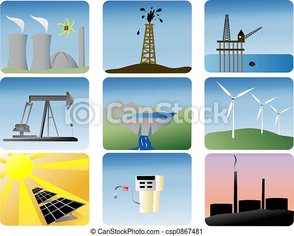 エネルギー, セット, アイコン - csp0867481