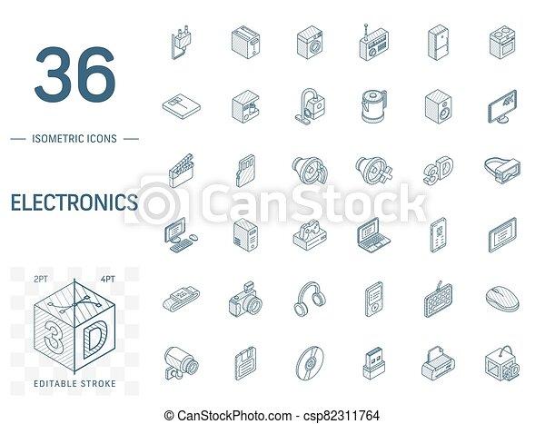 エレクトロニクス, 線, マルチメディア, 3d, 等大, icons., ベクトル - csp82311764