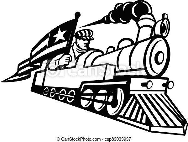 エンジニア, 機関車, アメリカ人, 黒, 白, マスコット, 蒸気, 運転, 列車 - csp83033937