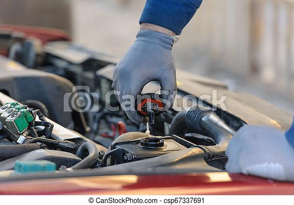 エンジン油, 自動車, 石油, システム, 液化された, ガス, 変化する - csp67337691