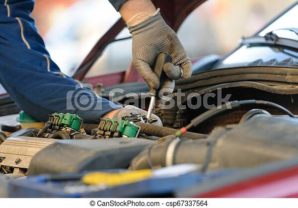 エンジン, 古い, サービス, 自動車, 注入器, lpg, 主題 - csp67337564