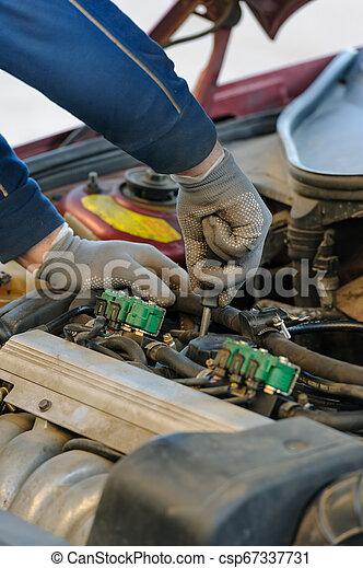 エンジン, 古い, サービス, 自動車, 注入器, lpg, 主題 - csp67337731