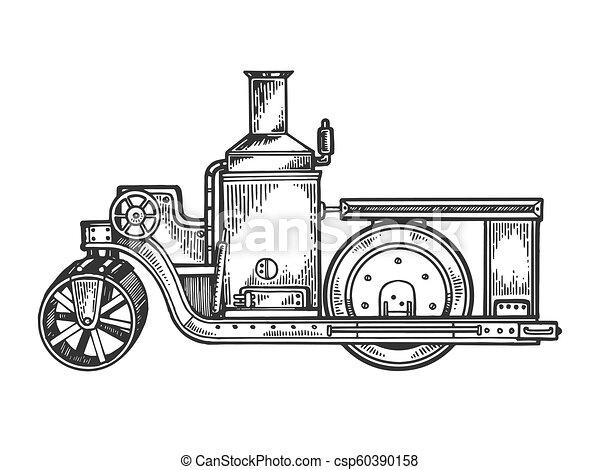エンジン, 彫版, ローラー, ベクトル, トラクター, 蒸気, 道 - csp60390158