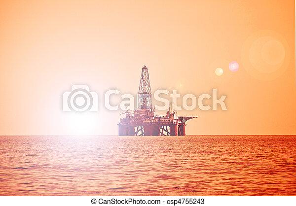 オイル, caspian, 日没, 海, の間, 用具一式, 沖合いに - csp4755243