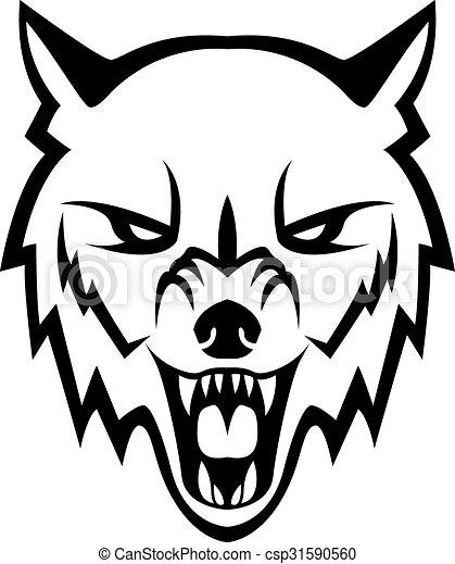 オオカミの頭部 デザイン イラスト