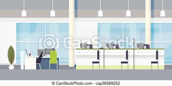 オフィスの内部, デザイン, 平ら, 現代, 仕事場, 机, 銀行 - csp36589252
