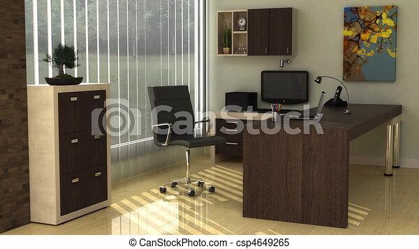 オフィスの内部, 現代 - csp4649265