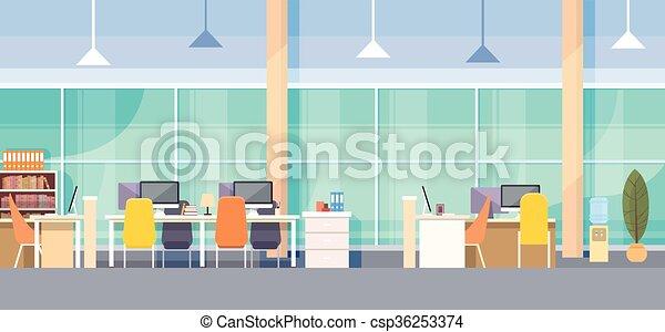 オフィスの内部, 現代, 仕事場, 机 - csp36253374