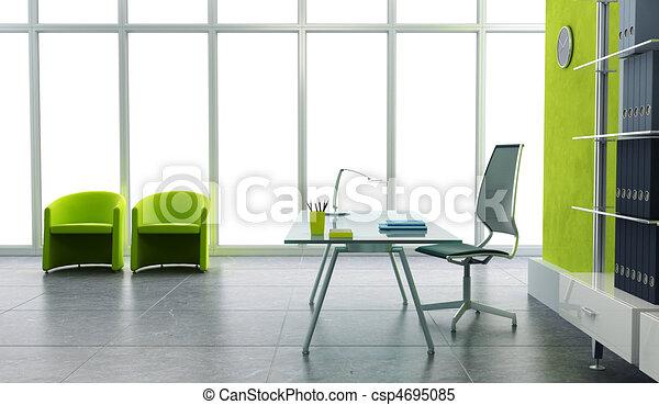 オフィスの内部, 現代, 3d - csp4695085