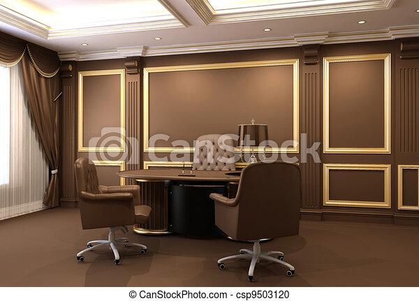 オフィス家具, 内部, 木製である - csp9503120
