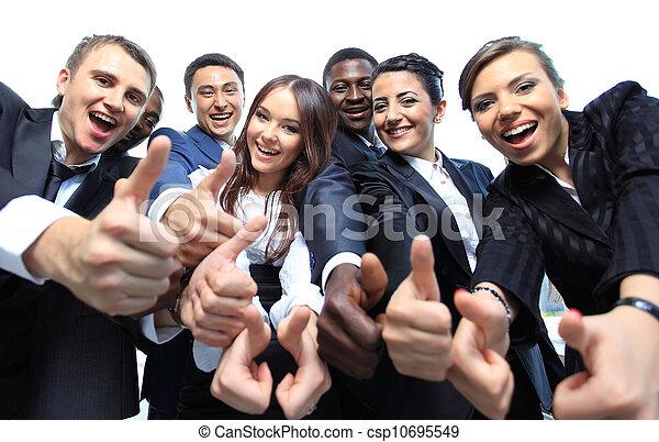 オフィス, ビジネス, の上, 多民族, 親指, チーム, 幸せ - csp10695549
