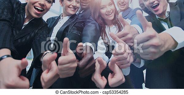 オフィス, ビジネス, の上, 多民族, 親指, チーム, 幸せ - csp53354285