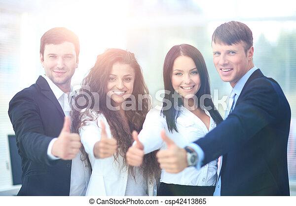 オフィス, ビジネス, の上, 親指, チーム, 幸せ - csp42413865