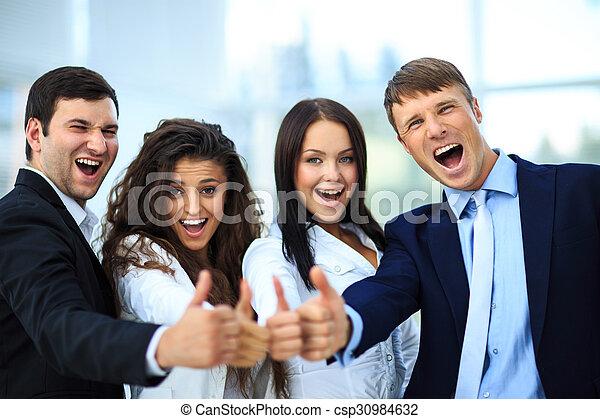 オフィス, ビジネス, の上, 親指, チーム, 幸せ - csp30984632