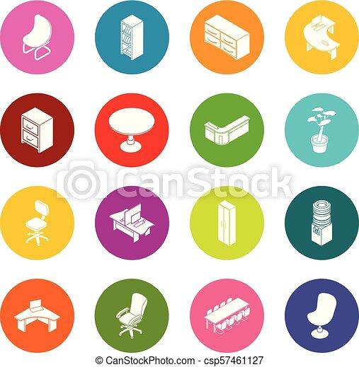 オフィス, ベクトル, 家具, 円, カラフルである, アイコン, セット - csp57461127