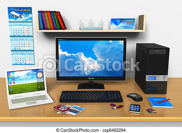 オフィス, ラップトップ, 装置, デスクトップ, 他, コンピュータ, 仕事場 - csp6462294