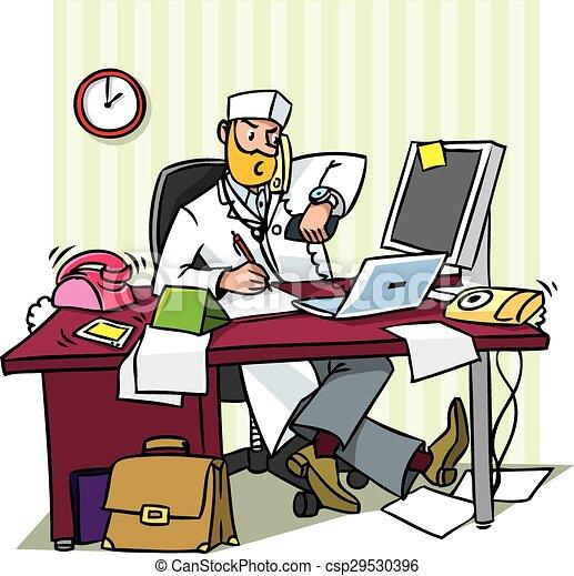 オフィス, 忙しい, 医者, 責任者 - csp29530396