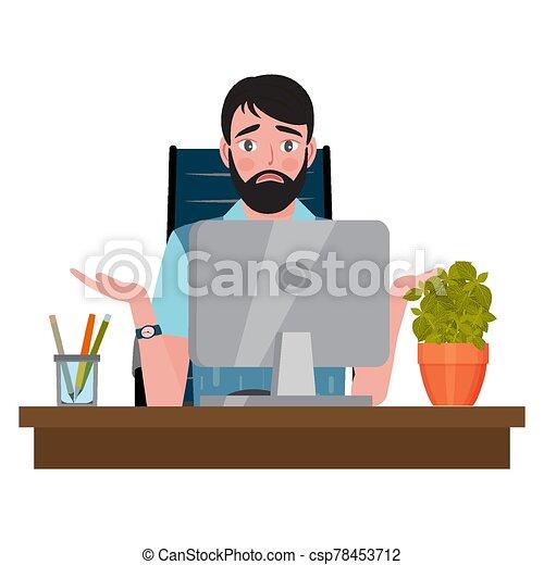 オフィス, 混乱させられた, 人, 見る, モニター, 椅子, モデル, 机, コンピュータ - csp78453712