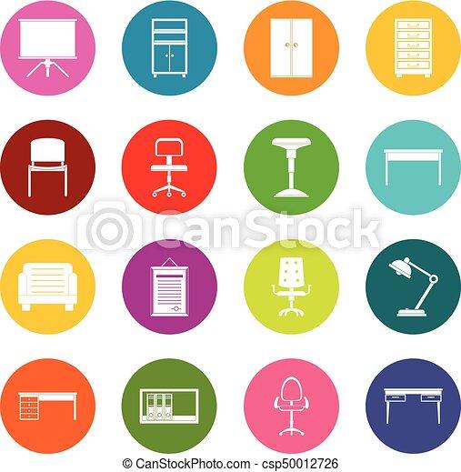 オフィス, 色, 家具, アイコン, セット, 多数 - csp50012726