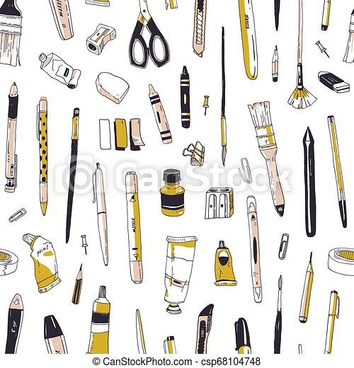 オフィス, 道具, スタイル, 文房具, 型, 創造性, seamless, 道具, バックグラウンド。, 引かれる, 白, 包むこと, イラスト, 手, 供給, wallpaper., ペーパー, 図画, 現実的, ベクトル, パターン, ∥あるいは∥ - csp68104748