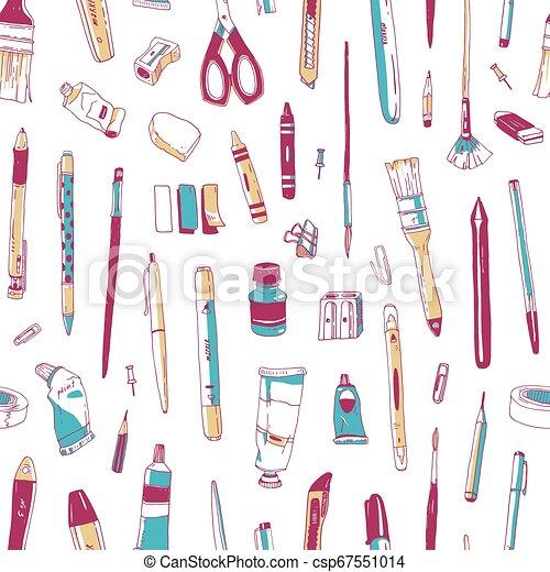 オフィス, 道具, スタイル, 生地, 文房具, 型, 創造性, seamless, 道具, バックグラウンド。, 供給, 白, 背景。, イラスト, 引かれる, 印刷, 壁紙, 図画, 現実的, ベクトル, パターン, ∥あるいは∥ - csp67551014