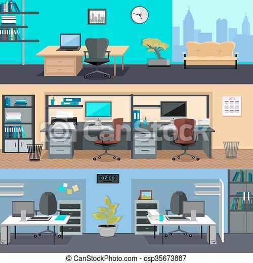 オフィス, room., インテリア・デザイン, イラスト - csp35673887