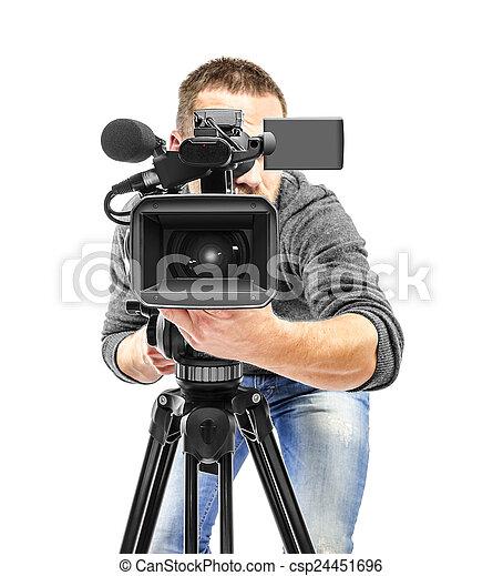 オペレーター, カメラ, ビデオ, filmed. - csp24451696