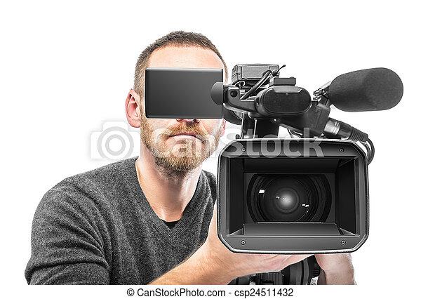 オペレーター, カメラ, ビデオ, filmed. - csp24511432