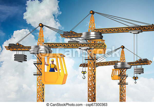 オペレーター, 作動させる, クレーン, 建設 - csp67300363