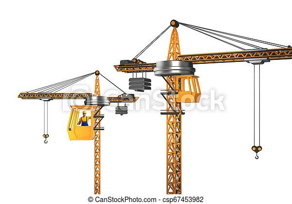 オペレーター, 作動させる, クレーン, 建設 - csp67453982