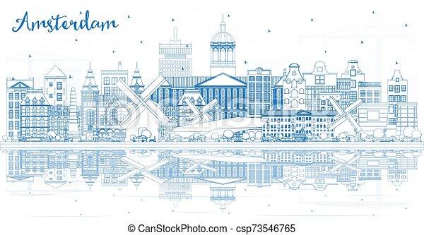 オランダ, アムステルダム, reflections., 建物, スカイライン, 都市, アウトライン, 青 - csp73546765