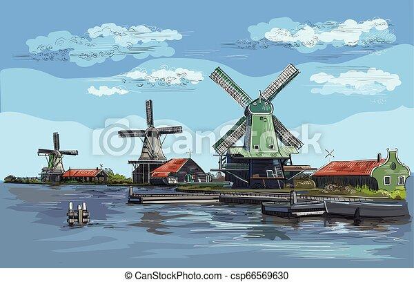 オランダ, ベクトル, 図画, 手, カラフルである, 2 - csp66569630