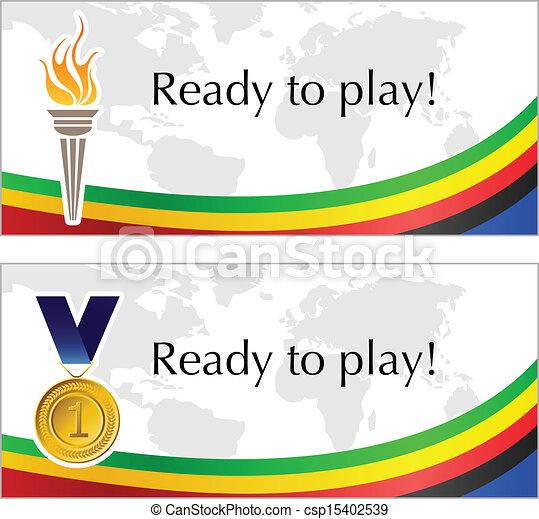 オリンピック, トーチ, メダル, フレーム - csp15402539