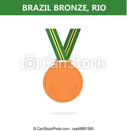 オリンピック, medal., illustration., ベクトル, ゲーム, 2016., brazil., rio., 銅 - csp48881565