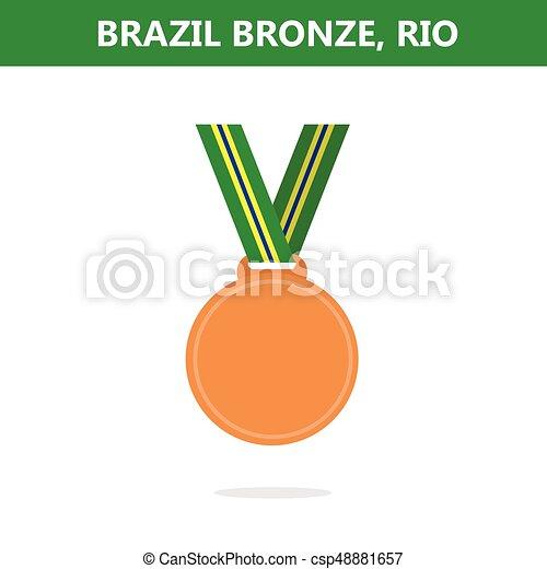 オリンピック, medal., illustration., ベクトル, ゲーム, 2016., brazil., rio., 銅 - csp48881657