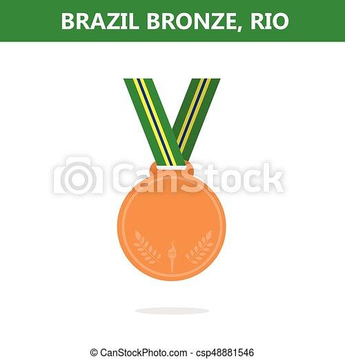 オリンピック, medal., illustration., ベクトル, ゲーム, 2016., brazil., rio., 銅 - csp48881546