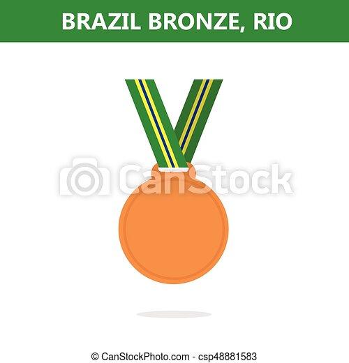 オリンピック, medal., illustration., ベクトル, ゲーム, 2016., brazil., rio., 銅 - csp48881583