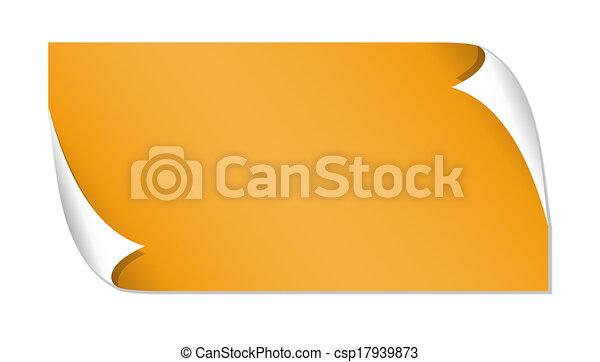 オレンジ, グロッシー, ラベル - csp17939873